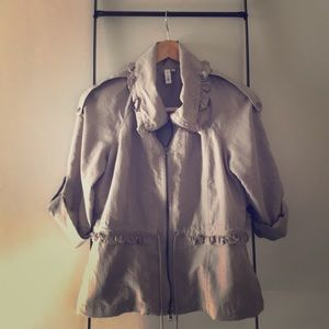 Anthropologie Gray Ruffle Utility Jacket